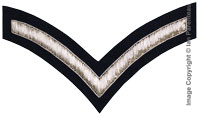 Embroidered silver wire on navy blue cloth 1 Stripe Chevron Lance Corporal insignia badge