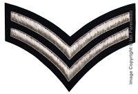 Embroidered silver wire on navy blue cloth 2 Stripe Chevrons Corporal insignia badge