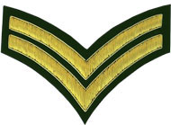 Hand Embroidered gold wire on green cloth 2 Stripe Chevrons Corporal insignia badge