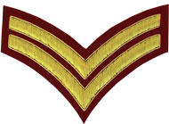 Hand Embroidered gold wire on red cloth 2 Stripe Chevrons Corporal insignia badge