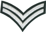 Embroidered silver wire on green cloth 2 Stripe Chevrons Corporal insignia badge