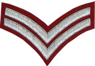 Hand Embroidered silver wire on red cloth 2 Stripe Chevrons Corporal insignia badge