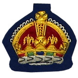 Hand Embroidered Gold on Navy Blue cloth King's Crown Sew-On Insignia Badge