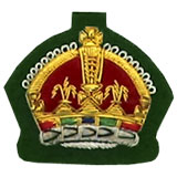 Hand Embroidered Gold Wire on Green Cloth King's Crown badge