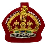 Hand Embroidered Gold Wire on Red Cloth King's Crown Sew-On Badge