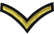 Hand Embroidered gold wire on navy blue cloth 1 Stripe Chevron Lance Corporal insignia badge