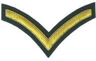 Hand Embroidered gold wire on green cloth 1 Stripe Chevron Lance Corporal insignia badge
