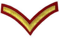 Hand Embroidered gold wire on red cloth 1 Stripe Chevron Lance Corporal insignia badge
