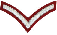 Hand Embroidered silver wire on red cloth 1 Stripe Chevron Lance Corporal insignia badge