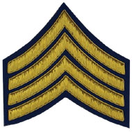 Hand Embroidered gold wire on navy blue cloth 4 Stripe Chevrons Major insignia badge