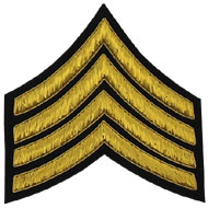Embroidered Gold wire on black cloth 4 Stripe Chevrons Major insignia badge