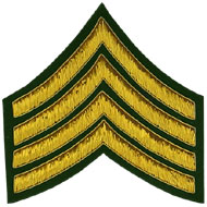 Hand Embroidered gold wire on green cloth 4 Stripe Chevrons Major insignia badge 1