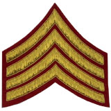 Hand Embroidered gold wire on red cloth 4 Stripe Chevrons Major insignia badge