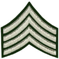 Embroidered silver wire on green cloth 4 Stripe Chevrons Major insignia badge