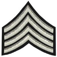 Embroidered Silver wire on black cloth 4 Stripe Chevrons Major insignia badge