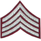 Hand Embroidered silver wire on red cloth 4 Stripe Chevrons Major insignia badge