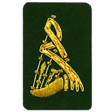 Hand Embroidered gold wire on green cloth bagpipes insignia badge