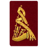 Hand Embroidered gold wire on red cloth bagpipes insignia badge