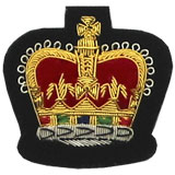 Embroidered Queen's Crown Gold Wire on Black Cloth