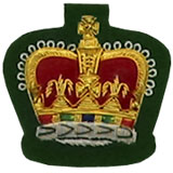 Hand Embroidered Gold Wire on Green Cloth Queen's Crown badge