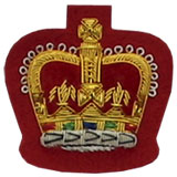 Hand Embroidered Gold Wire on Red Cloth Queen's Crown Sew-On Badge