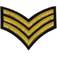 Embroidered Gold wire on black cloth 3 Stripe Chevron Sergeant insignia badge
