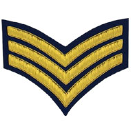 Hand Embroidered gold wire on navy blue cloth 3 Stripe Chevrons Sergeant insignia badge