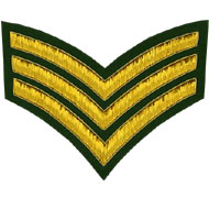 Hand Embroidered gold wire on green cloth 3 Stripe Chevrons Sergeant insignia badge