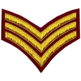 Hand Embroidered gold wire on red cloth 3 Stripe Chevrons Sergeant insignia badge