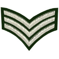 Embroidered silver wire on green cloth 3 Stripe Chevrons Sergeant insignia badge