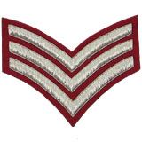 Hand Embroidered silver wire on red cloth 3 Stripe Chevrons Sergeant insignia badge