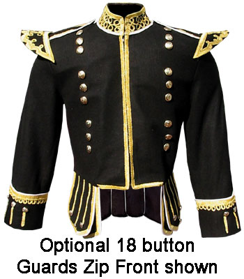 Black Melton Wool Pipe Band Doublet with Gold Bulltion Trim