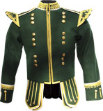 "Green Highland Pipe and Drum Band Kilt Doublet with 18 button ""Guards"" zip front and fancy metallic braid trims"