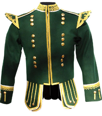 Green piper doublet with scrolling gold braid trim and 18 button zip front
