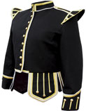 Black Melton wool Highland Pipe band doublet with braid trim