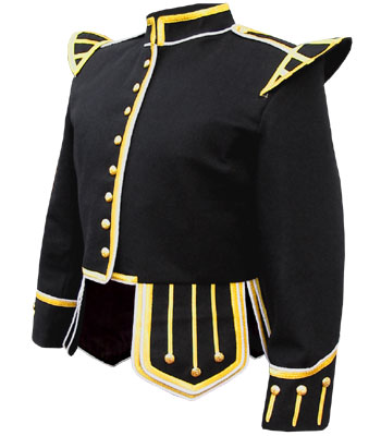 Black Piper Doublet with Gold braid trim