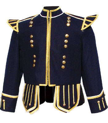Dark Blue piper doublet with gold braid trim and 18 button zip front