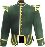 Green Highland Piper Kilt Doublet with metallic braid trims