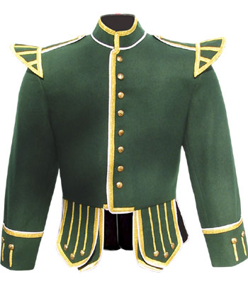 Green piper doublet with gold braid trim