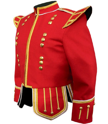 Red Piper Doublet with Gold Trim and 18 button zip front