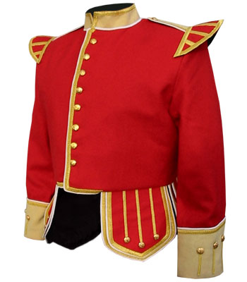 Red Piper Doublet with Buff Facing and Gold Trim