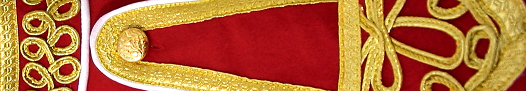 Red Piper Doublet with Gold Scrolling Trim