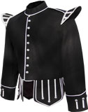 Black Highlander Pipe and Drum Band Kilt  Doublet