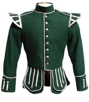 Green piper doublet with silver thistle buttons
