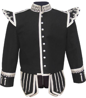 Black piper doublet with fancy scrolling gold braid trim