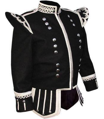 Black Melton Wool Pipe Band Doublet with Silver Bullion Trim