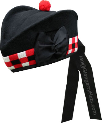 GlengarryHats.com Black Glengarry Hat with White/Red/Black Dicing